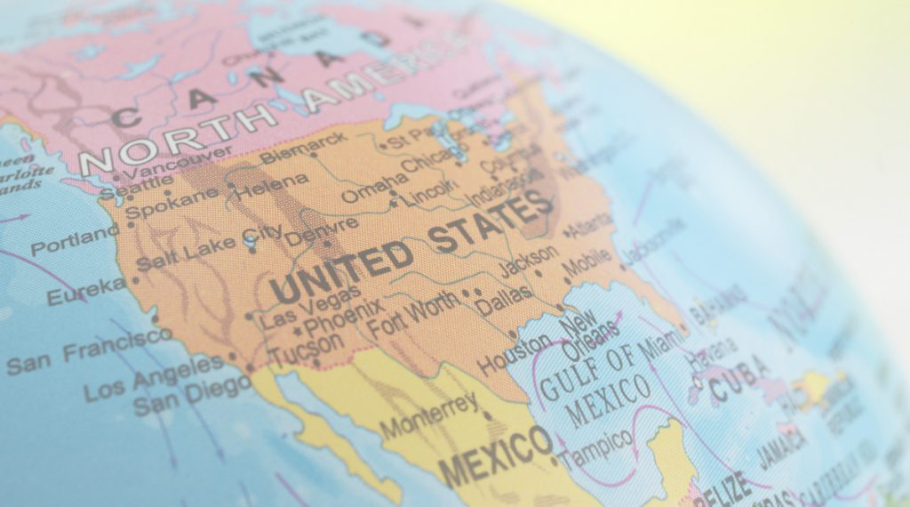 photo of a globe focused in on the united states