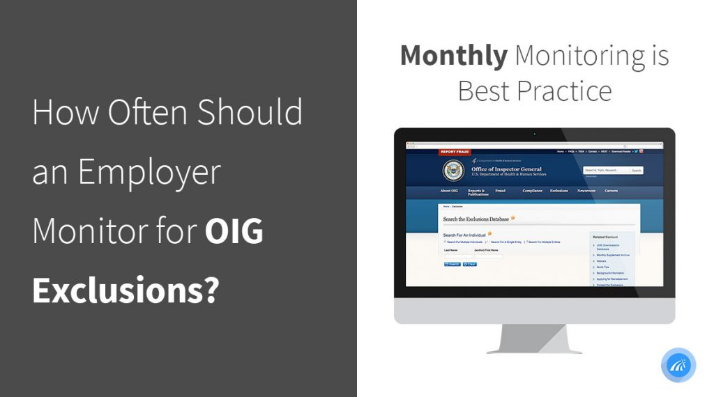 OIG exclusion monitoring