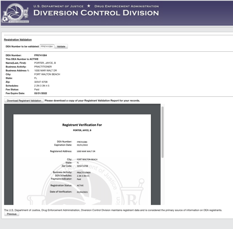 DEA diversion control DEA registration validation