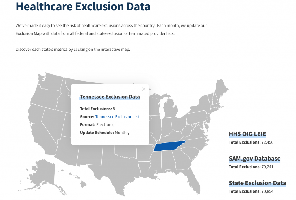ProviderTrust Healthcare State Exclusion Map