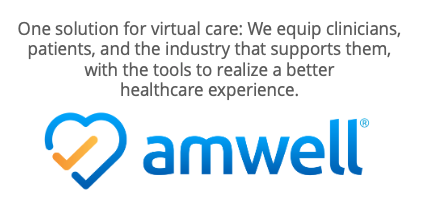 """Amwell logo with text that reads """"One solution for virtual care: We equip clinicians, patients, and the industry that supports them, with the tools to realize a better healthcare experience."""""""