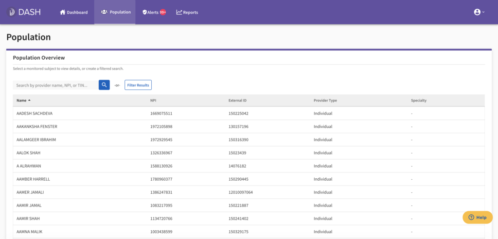 screenshot of updated Dash population UI