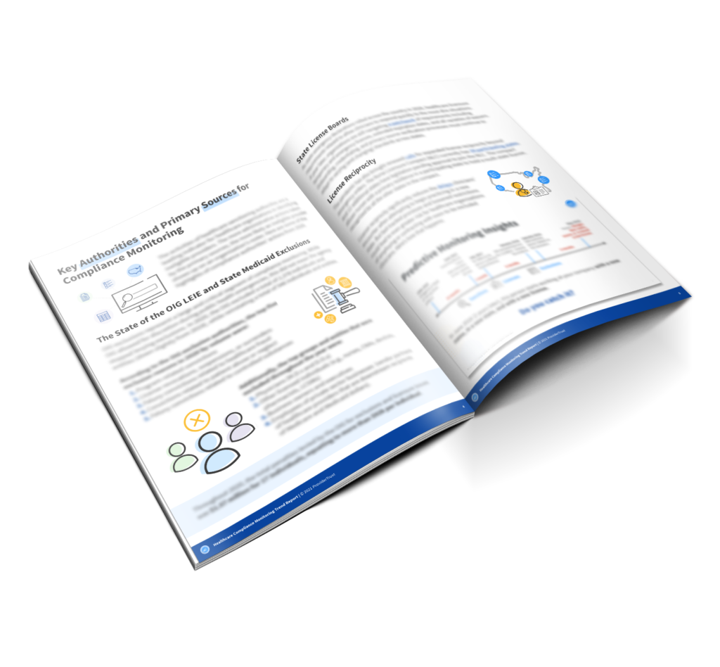 two page preview of compliance monitoring trend report