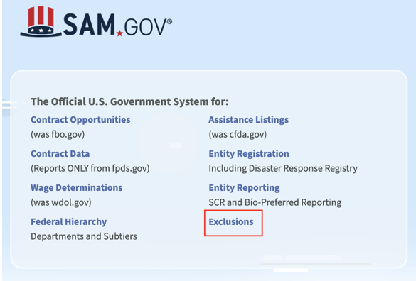 Screenshot from SAM.gov of updated UI with red outline around link to Exclusions