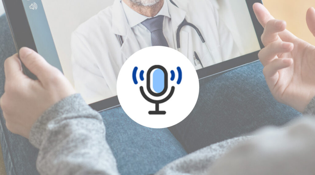 doctor on screen with podcast icon