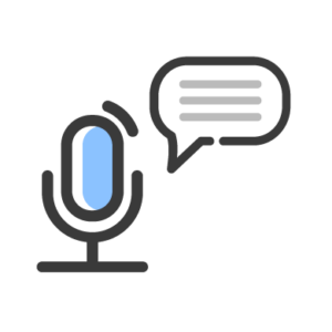 A microphone with a speech bubble coming out of it